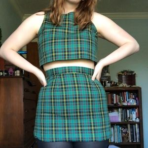 Green Plaid Co-Ord Two Piece Skirt Set!